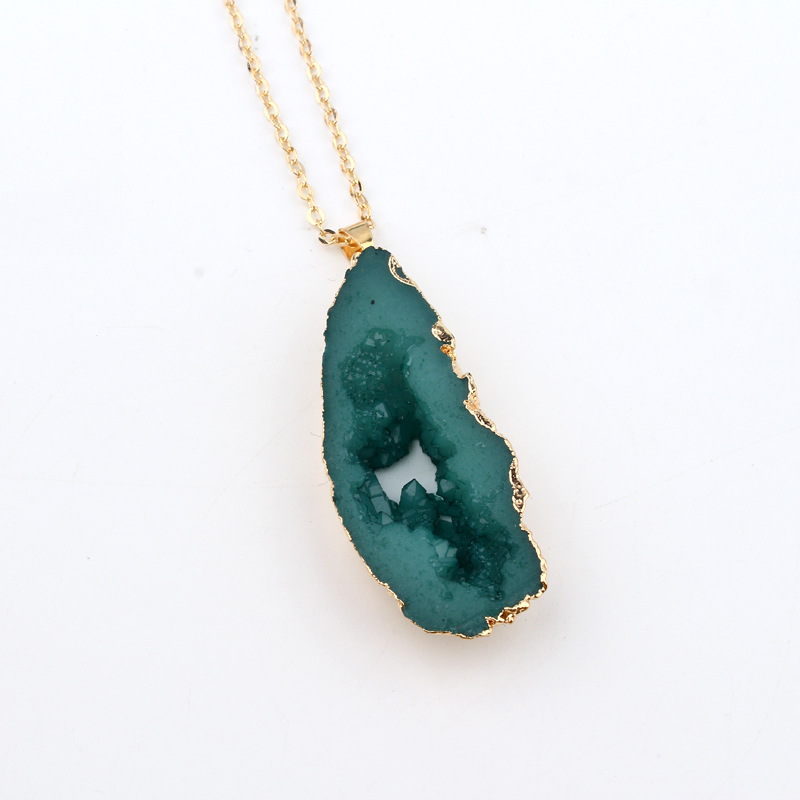 Jewelry hollow resin necklace new exaggerated imitation natural stone pendant necklace NHGO204382