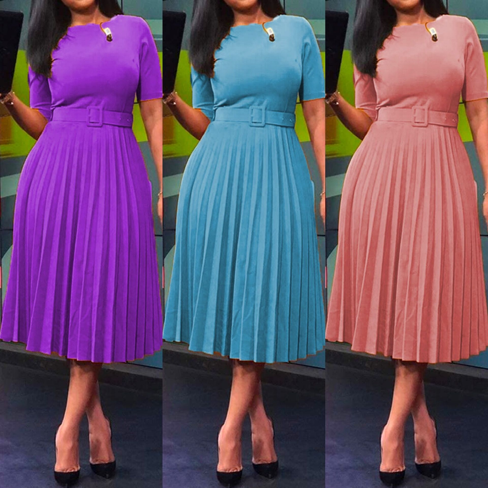 Women's dresses in American and African solid color with pleated skirts and waistbands are in stock