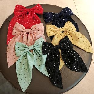 The new wave dot big bow hairpin back head Japanese streamer hair accessories duckbill clip headdress Mori top clip hairpin