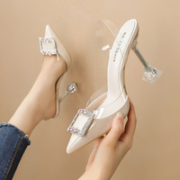 1020-7 han edition fashion pointed shallow mouth high-heeled shoes diamond and women sandals square buckle transparent thin with a word for women's shoes