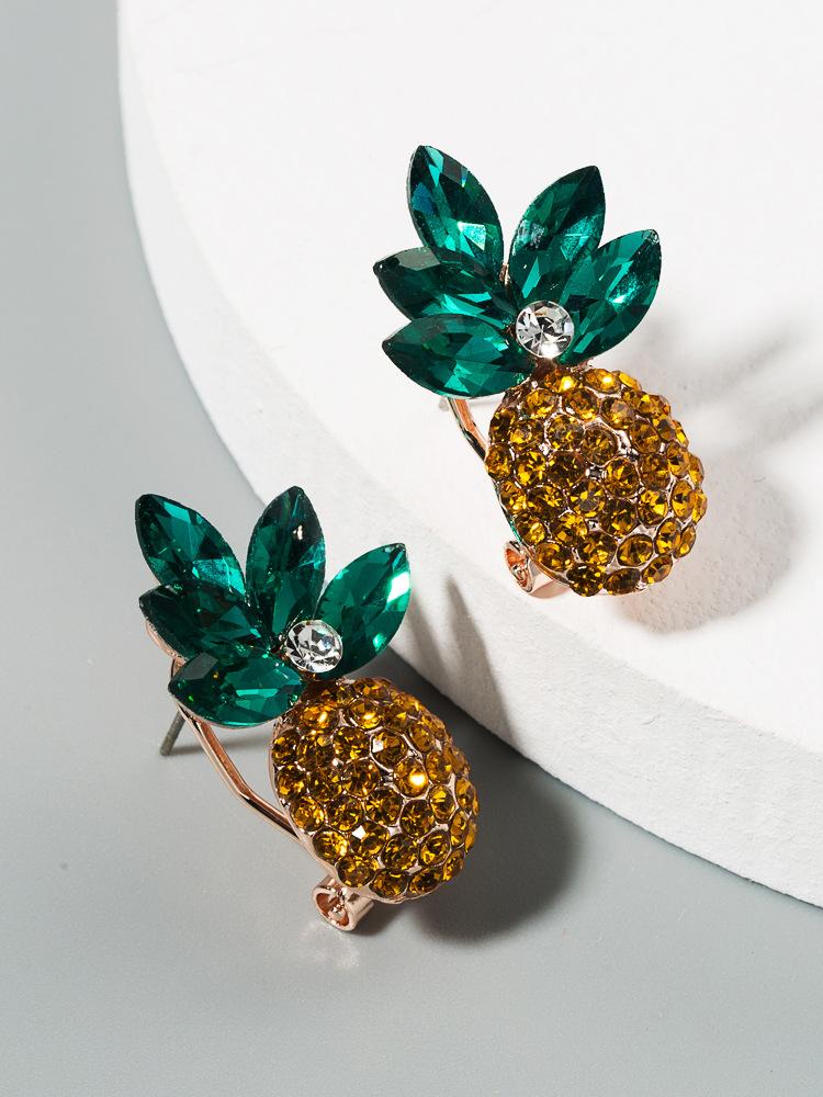 Korean fashion trendy fresh wild ladies earrings alloy inlaid color rhinestone pineapple earrings wholesale nihaojewelry NHLN224284