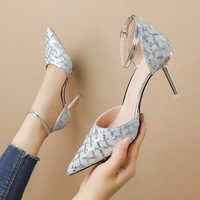 The 6719-10 han edition fashion pointed shallow mouth high-heeled shoes with thin to show a word thin sandals, sexy party shoes
