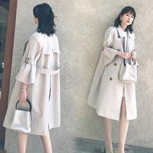 风衣女2020秋新中长款韩版英伦风过膝喇叭袖系带双排扣中袖外套女
