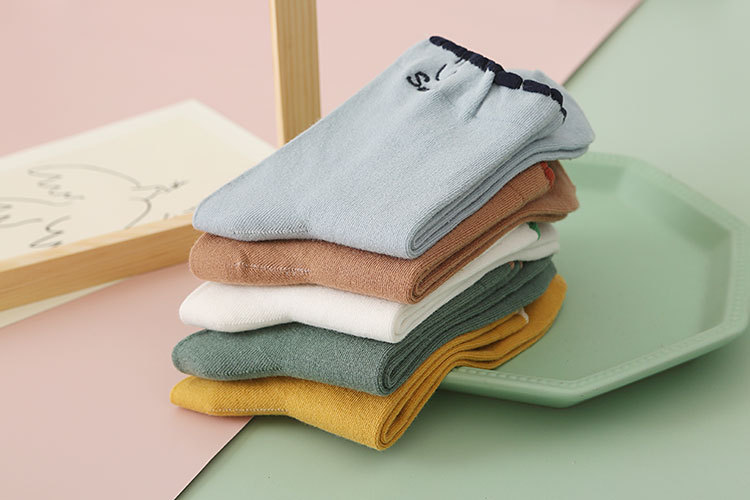 autumn and winter bubble mouth solid color cotton socks NSFN9352