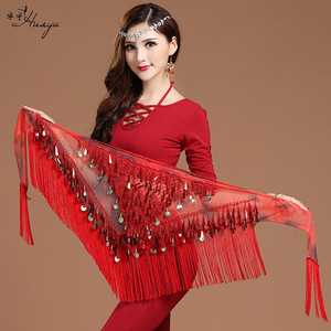 Belly dance sexy hip scarf sequins hanging coin tassel triangle scarf waist scarf skirt Indian dance performance