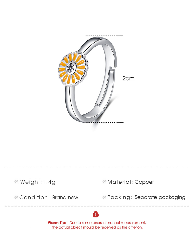 Korean style simple daisy flower ring sunflower ring adjustable ring wholesale nihaojewelry NHDP244378