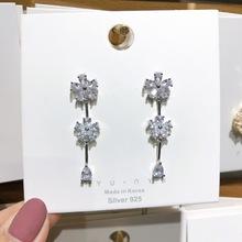 歐美復古奢華彩色鋯石流蘇耳環精致微鑲方鉆高檔配飾耳釘晚宴禮服