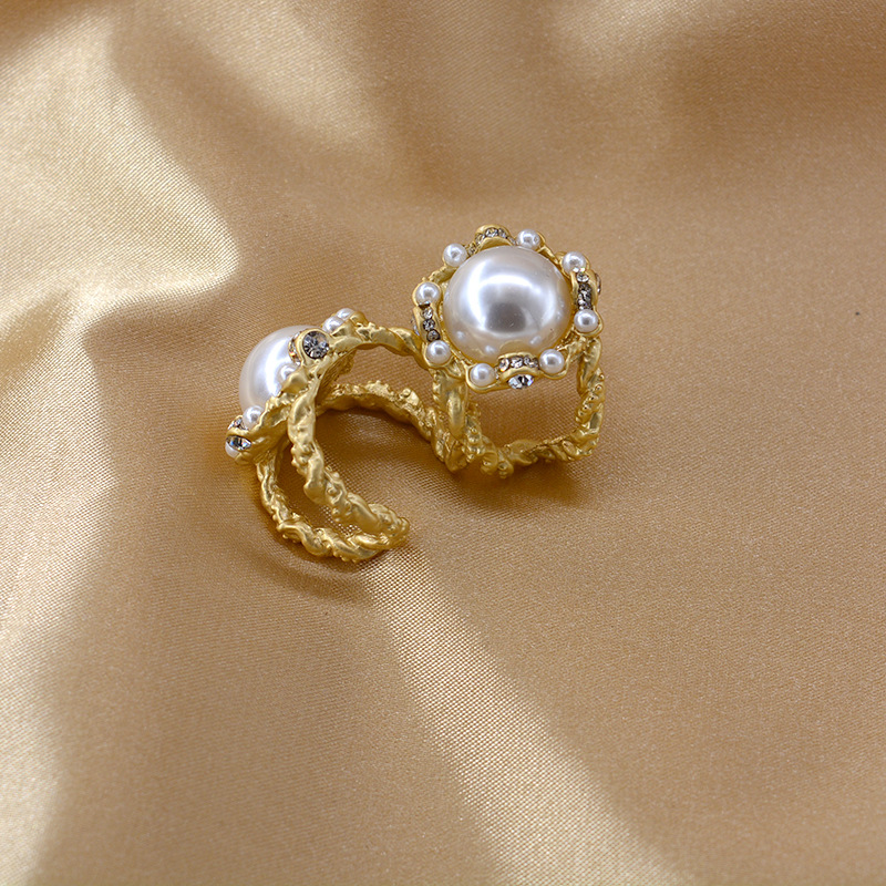Vintage Gold Openwork Pearl and Diamond Ring Opening Adjustable Fashion Ring NHNT206023
