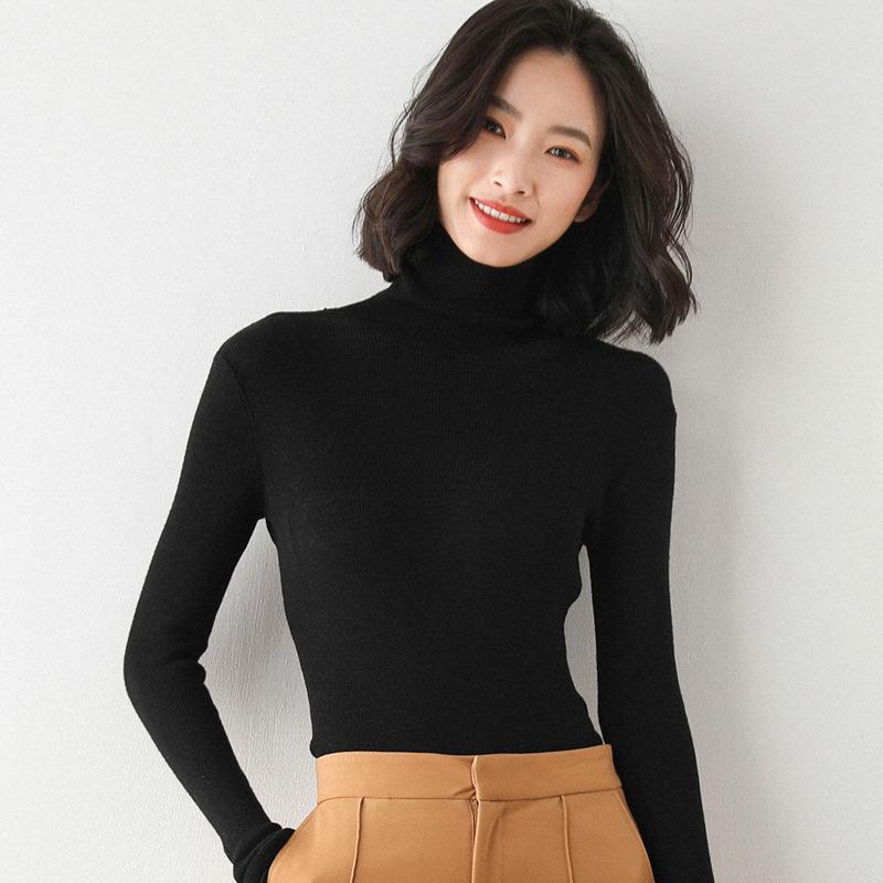 堆堆领羊毛衫毛衣女秋冬新款纯色修身百搭高领针织打底衫女薄款