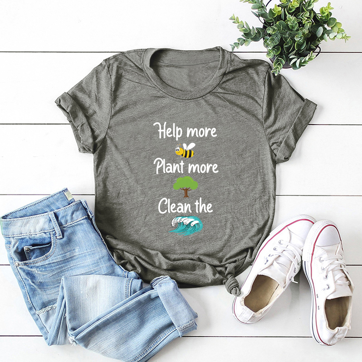 casual letters printed short-sleeved women's T-shirt NSSN1789