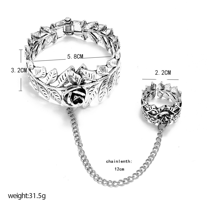 fashion trend carved rose leaf set simple retro punk style exaggerated bracelet ring set wholesale nihaojewelry NHKQ229423