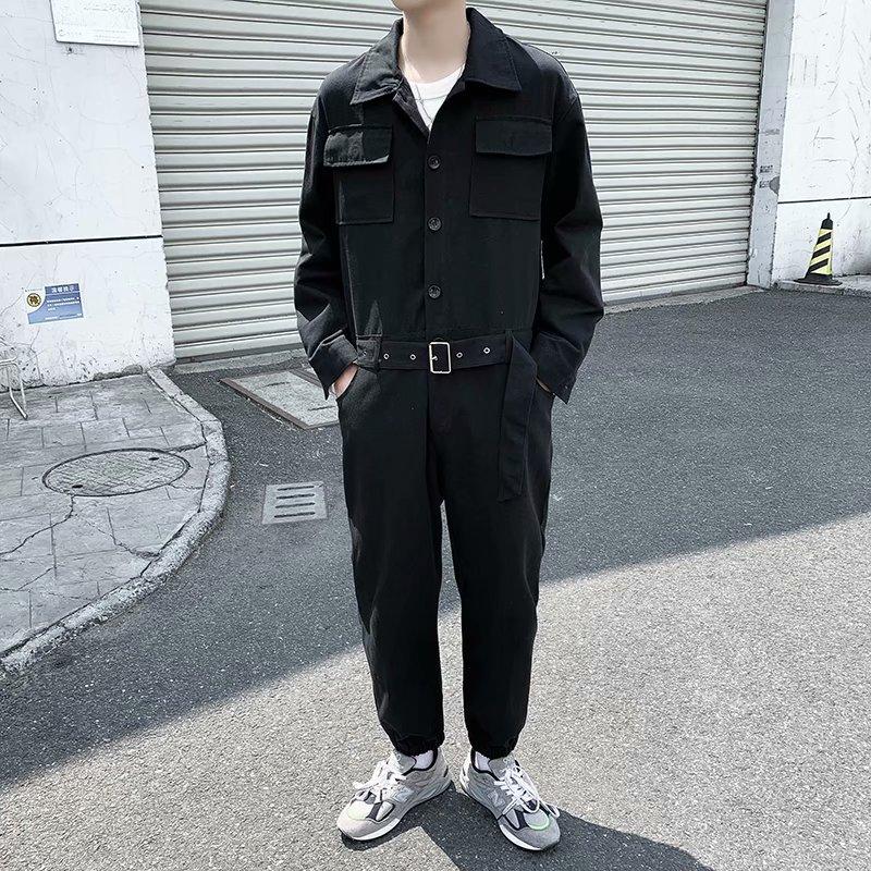 秋季工装连体衣韩版复古宽松休闲配腰带男士潮流青年纯色套装衬衣