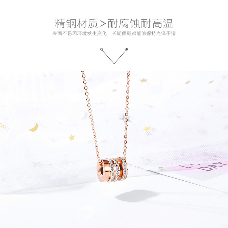 fashion zircon stainless steel pendant rose gold clavicle chain necklace accessories jewelry wholesale nihaojewelry NHOP219955