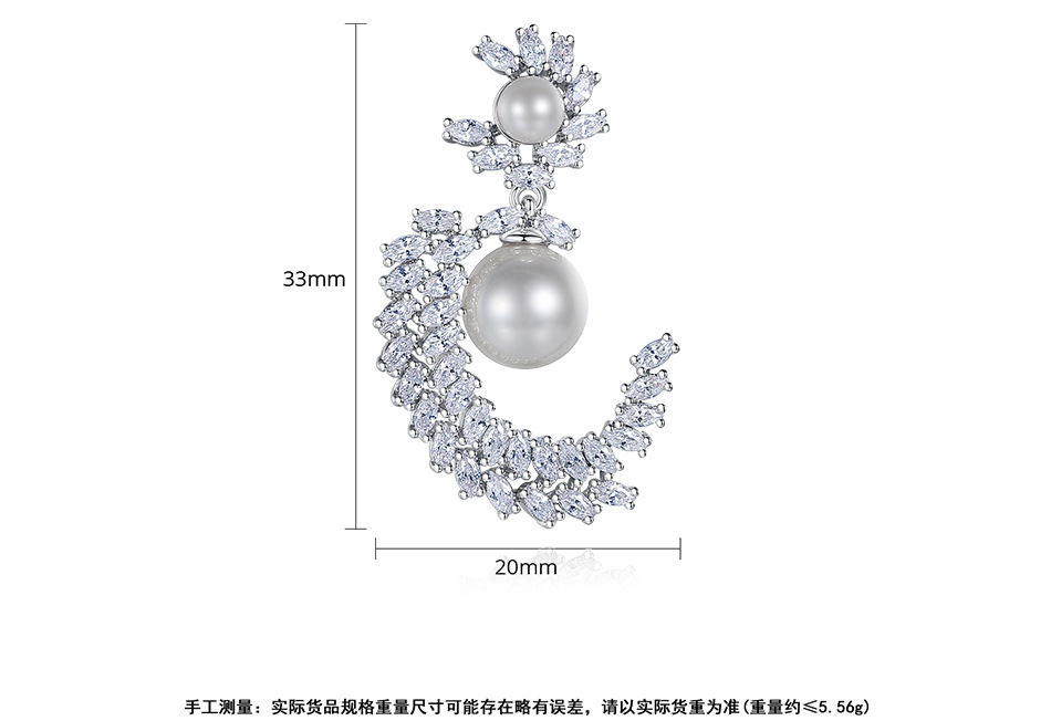 Fashion Copper Inlaid Zircon Earrings Korean Earrings Pearl Earrings Wholesale NHTM201351