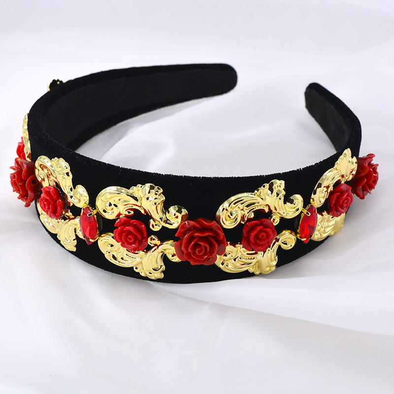Hairband for women simple Korean elegant imitation pearl hair hole Baroque retro wide-edge flower headband NHNT203544