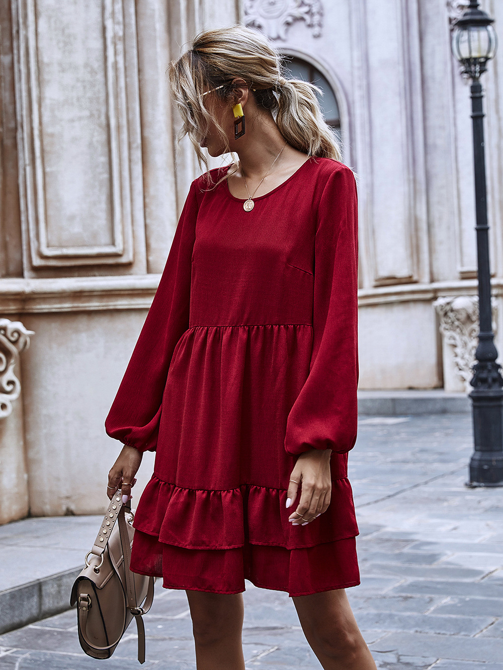 new wine red long-sleeved a-line skirt mid-length ruffle dress wholesale NHDF42