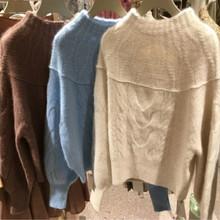 2020秋冬新款女装圆领麻花针织上衣灯笼袖日本代购款毛衣