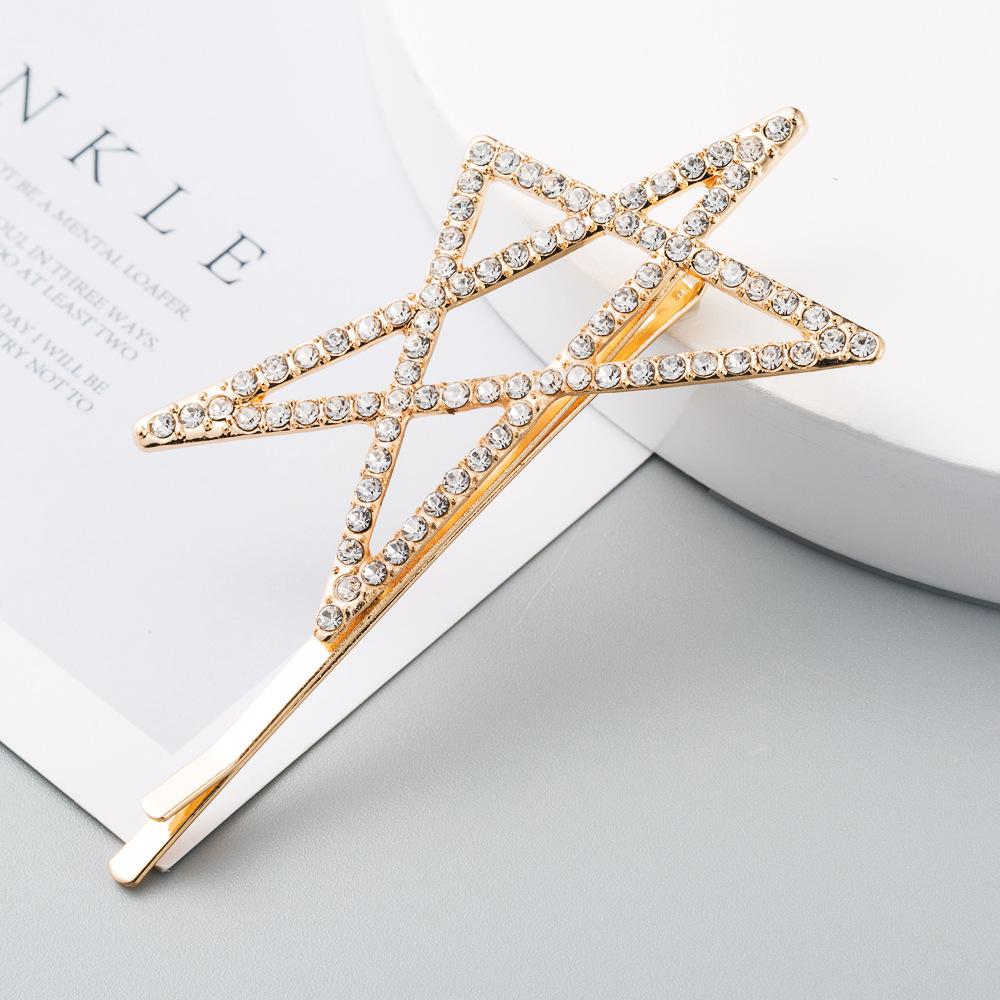 New exaggerated fashion alloy diamond size pentagram cheap hairpin set 2 sets wholesale NHLN208869