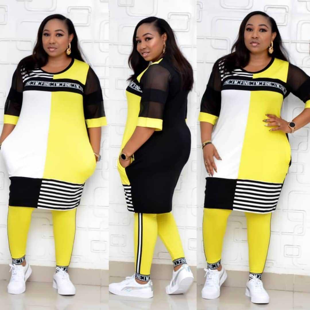 非洲女装 2020新款条纹 网纱拼接 加大码休闲套装 长裤 两件套