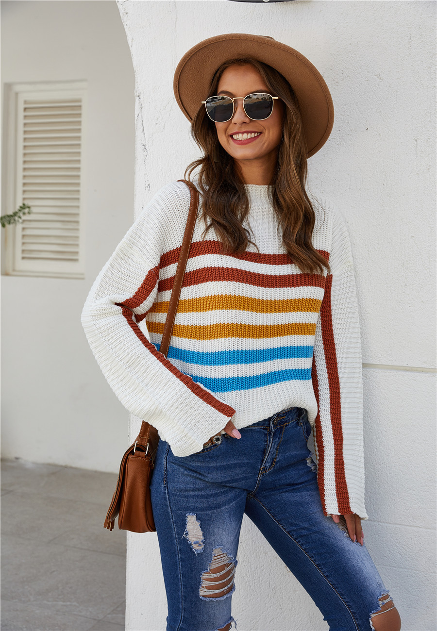 color stripe short loose knit round neck pullover sweater  NSYD3757