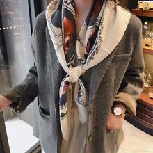 出口韓國春夏新款動物貓圖案正方形圍巾披肩薄款絲巾女柔軟棉紗巾