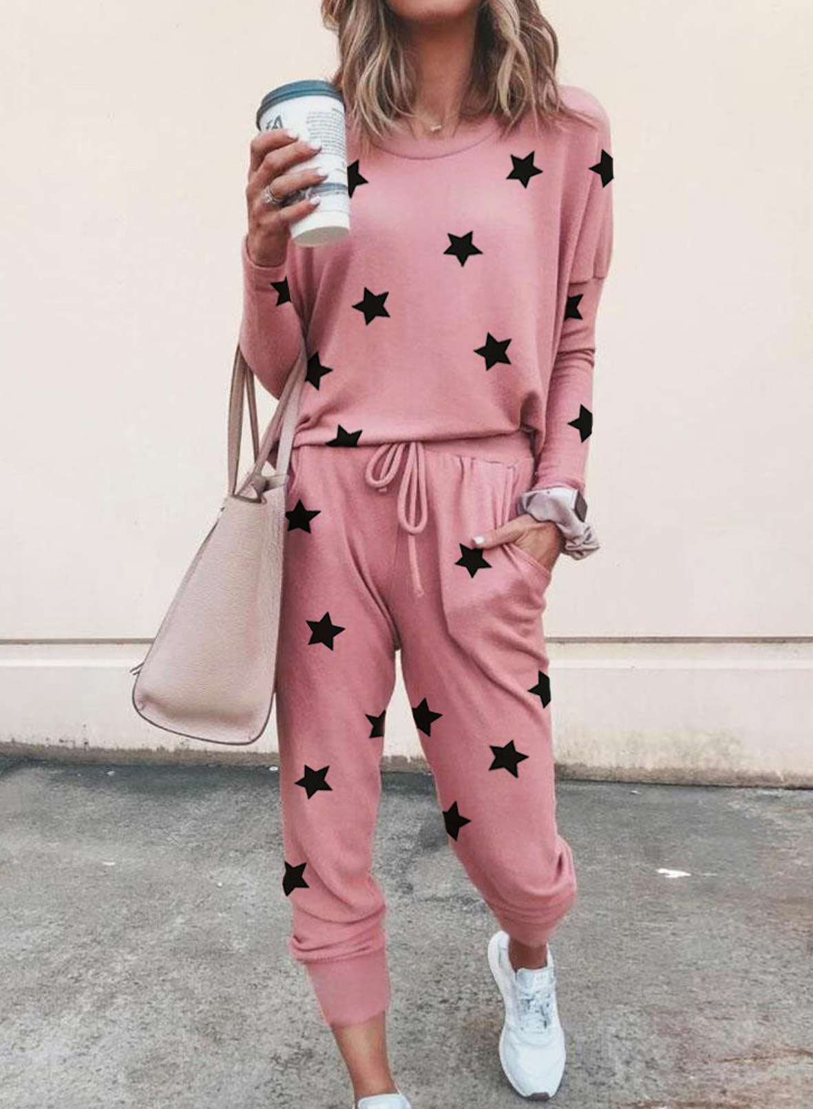autumn new style stars print round neck long-sleeved lady t-shirt suit NSSI2957