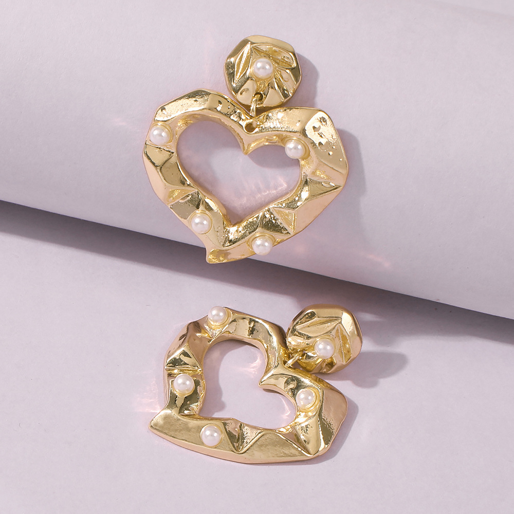 fashion new simple love smooth womens concavoconvex pearl alloy earrings hot sale NHMD258496