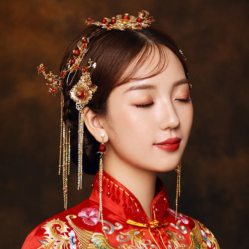 Bride Xiuhe Headdress Chinese antique phoenix crown step by step show Wo clothing wedding jewelry women