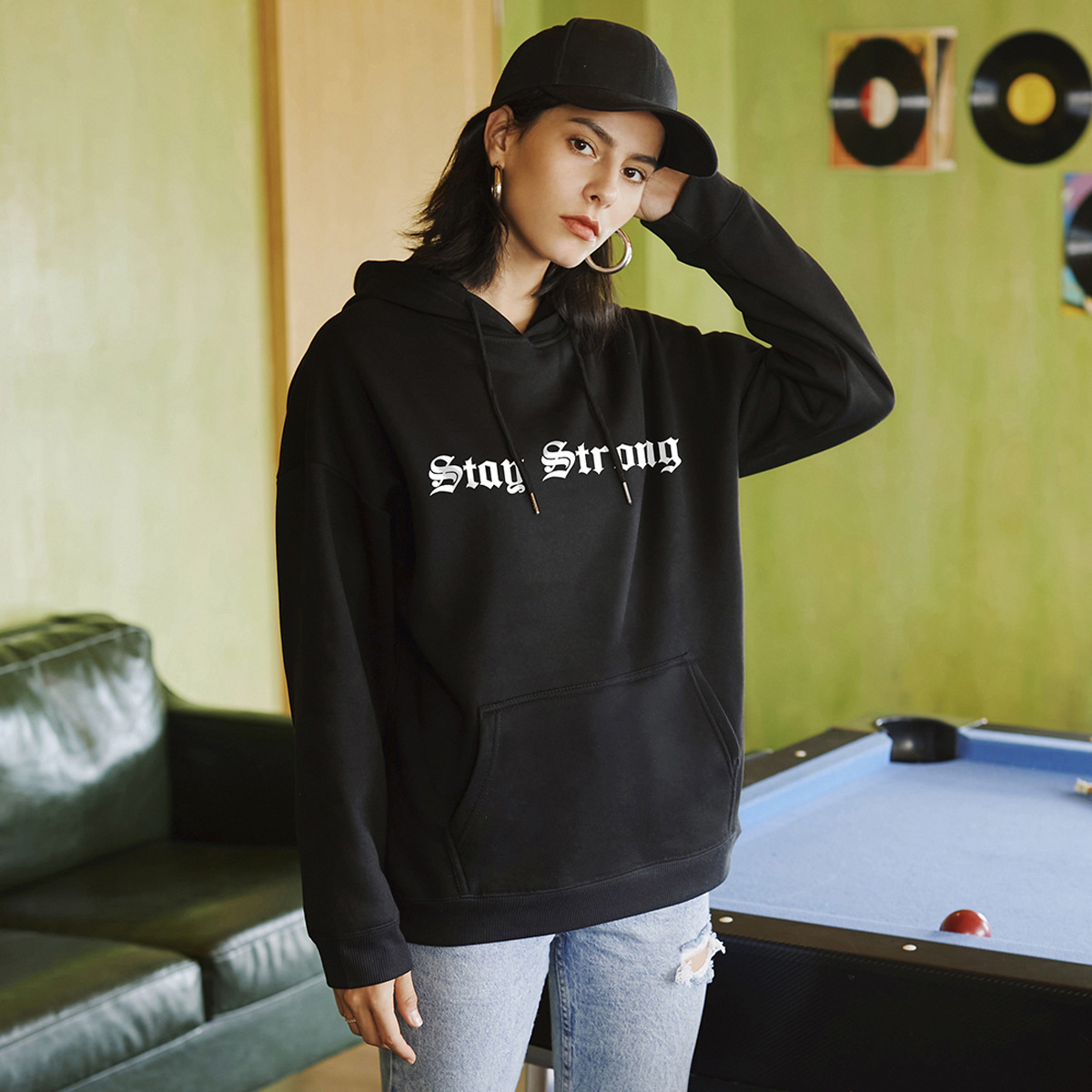 hooded loose letter print hoodies for women NSSN1745