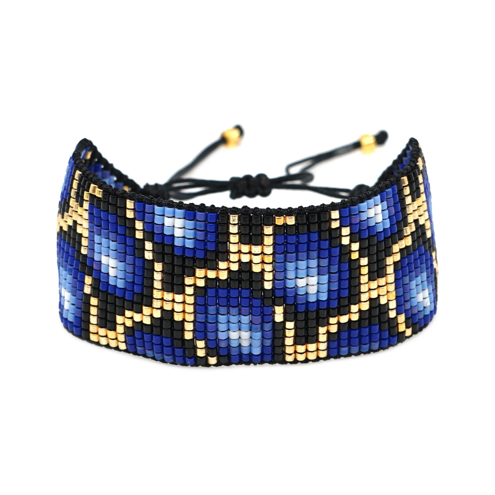 national style evil eye crystal tassel with Miyuki rice beads hand-woven leopard bracelet NHGW217428