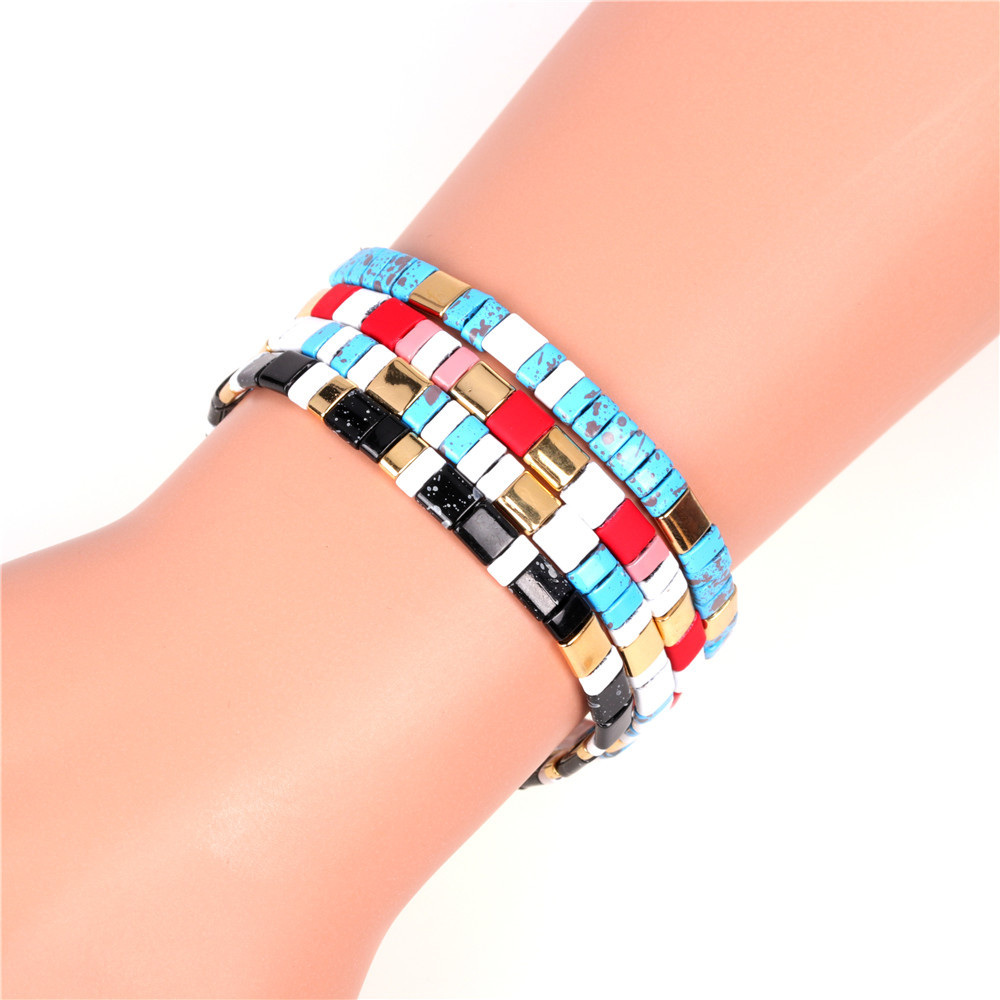 Fashion bracelets beaded bracelets painted rainbow mixed colors hand-woven bracelets bracelets NHPY199137