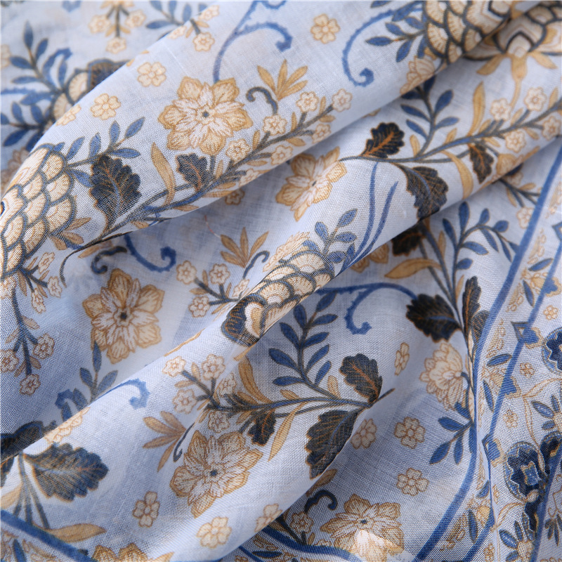 Scarf autumn and winter retro cotton and linen flowers travel sunscreen shawl women NHGD202415