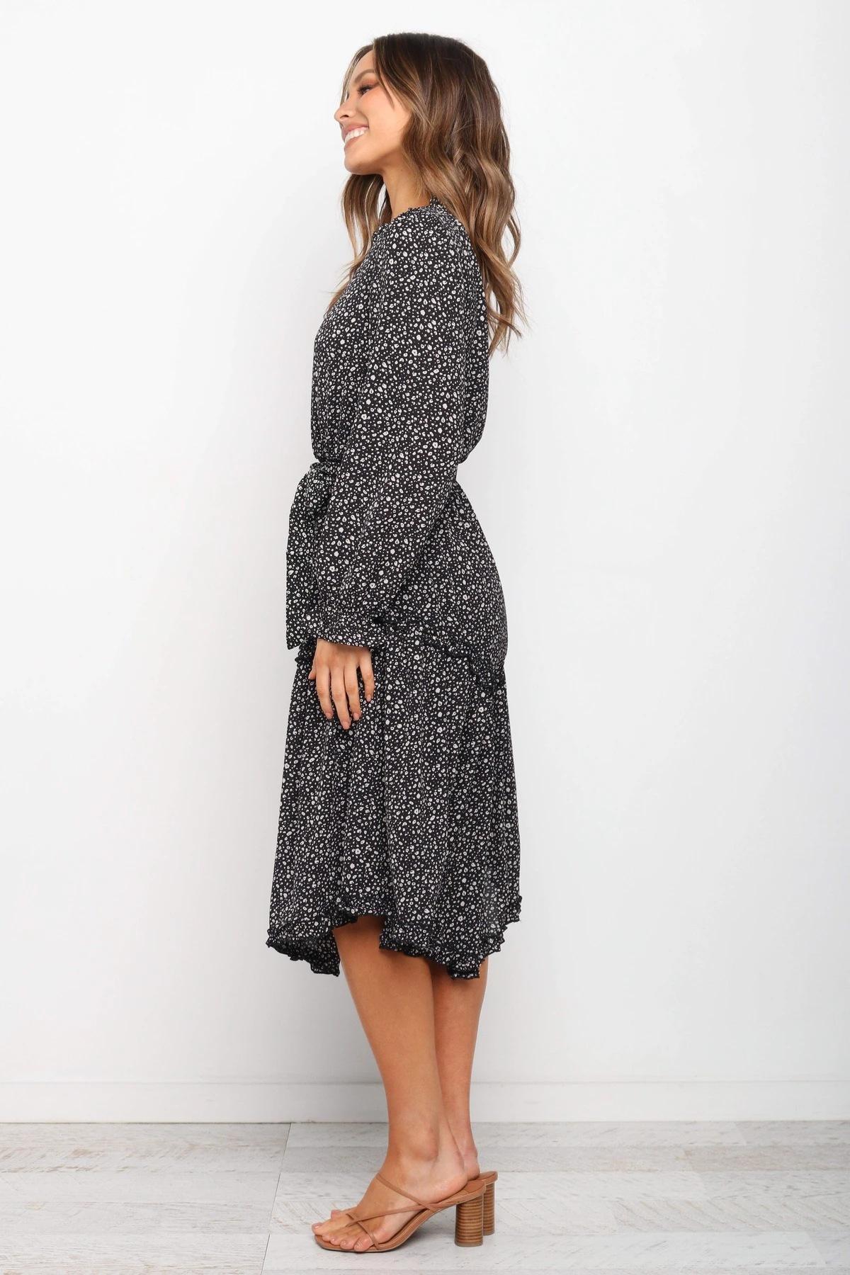 half-high collar long-sleeved waist belt printing mid-length dress NSYD3719