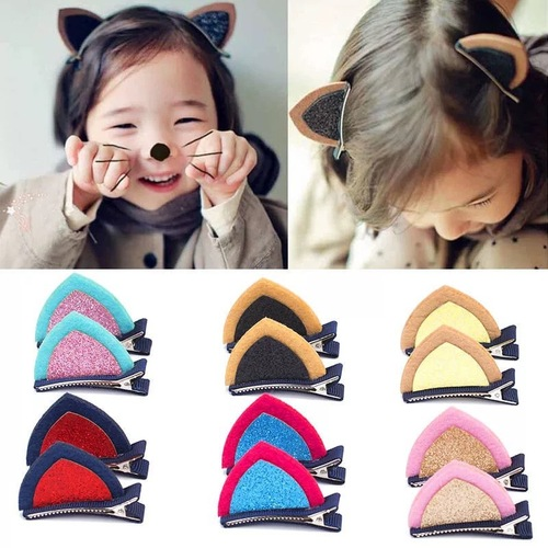10 pairs catear children hair barrette hair accessories hairpin rabbit cat ear girl lady hairpin shining baby side clip