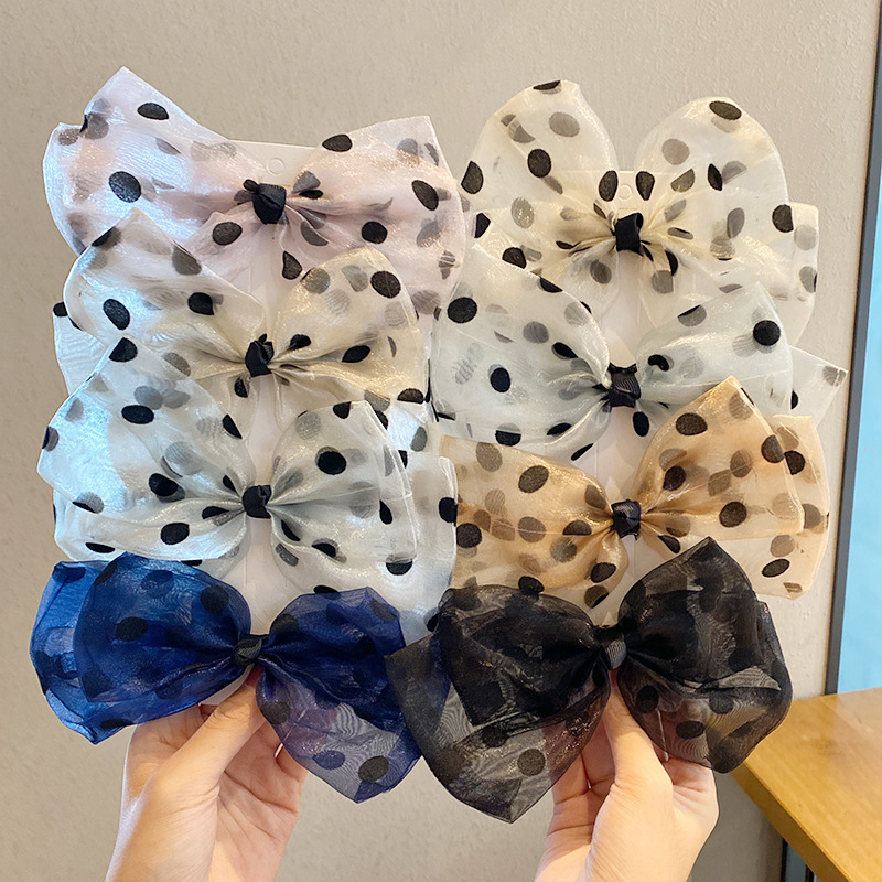 New organza big bow hairpin spring clip hair tie wave point hairpin wholesale nihaojewelry NHNA239514