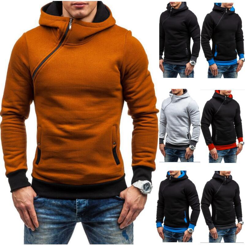 2020 European men's spring and autumn new hooded Pullover Sweater multi color foreign trade men's inclined zipper Hooded Sweater