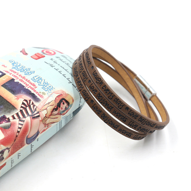 New fashion leather strip lettering embossed bracelet magnetic buckle multilayer printed PU leather multilayer bracelet NHHM205863
