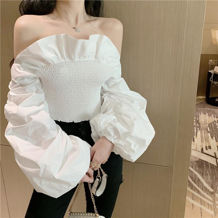 韩国ins夏季荷叶边性感拉肩大灯笼袖松紧收腰性感衬衫上衣女