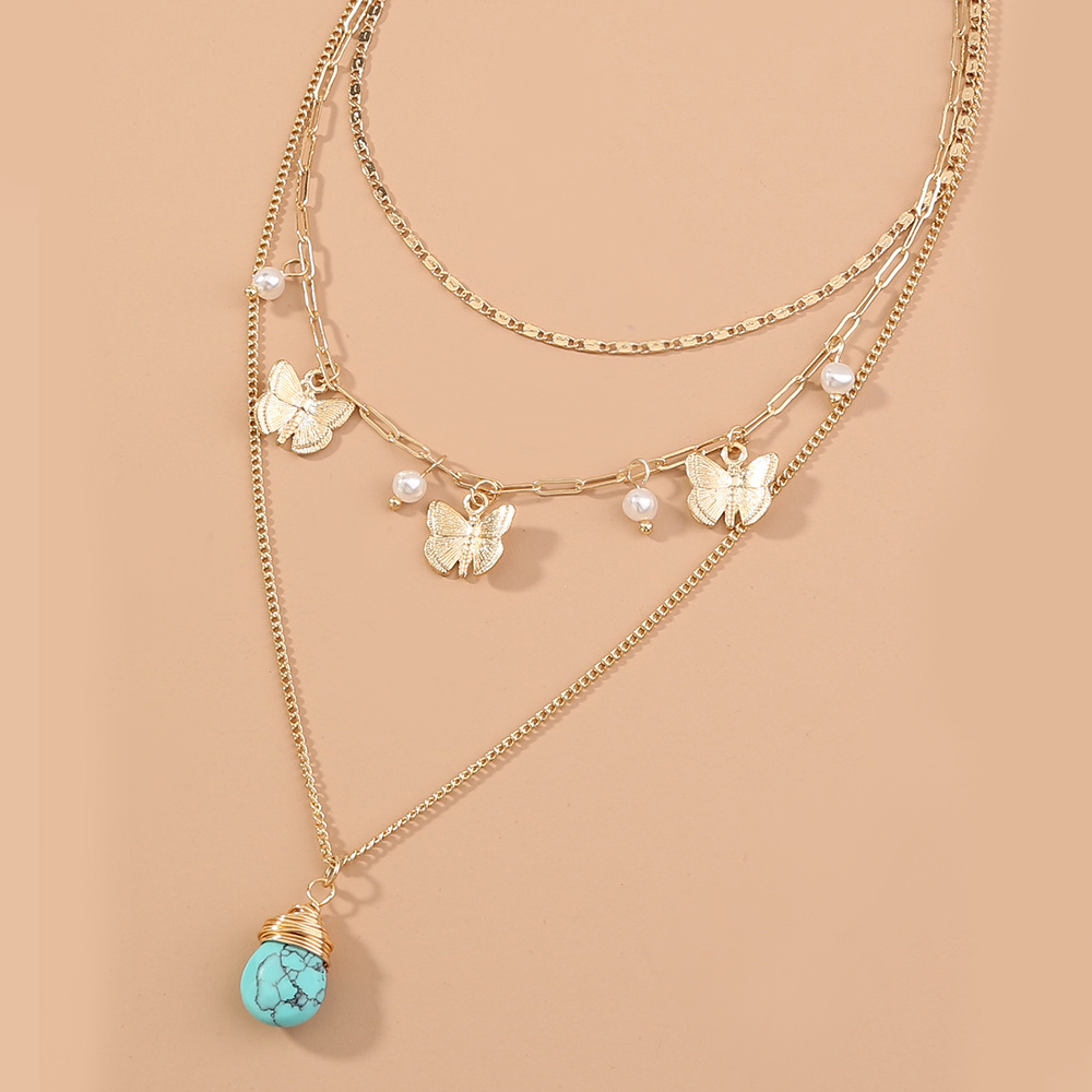 Summer hot style popular tassel turquoise pendant multilayer necklace wholesale NHAN250732