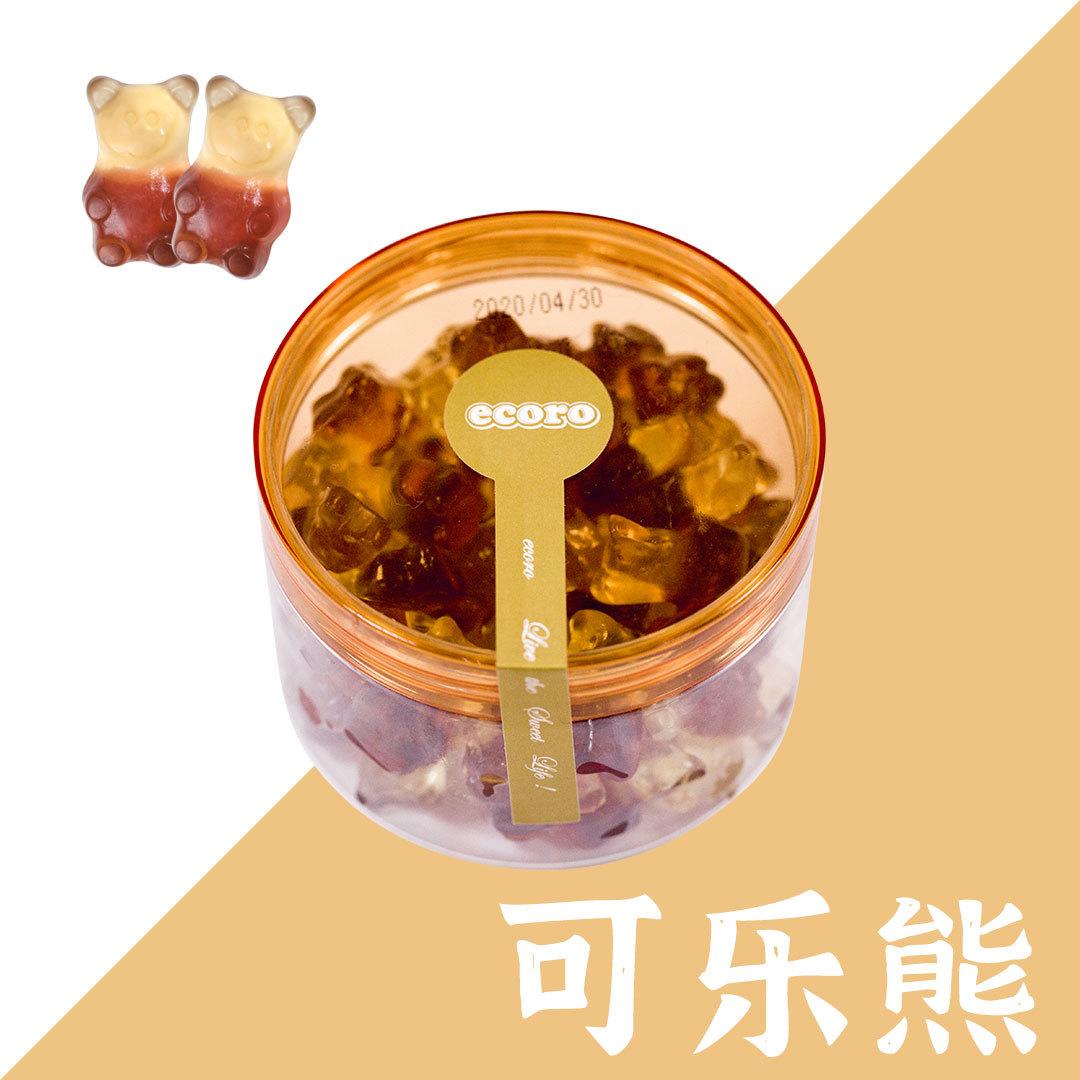 怡可诺橡皮糖可乐熊形120g*24罐果汁软糖果qq糖水果糖零食批发