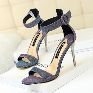 68-2 han edition fashion with high with a shiny metal word with small buckle peep-toe female summer sandals, high heels