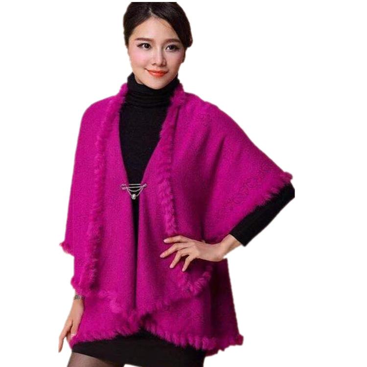 秋冬款中老年女大码斗篷披肩披风精品女式针织毛衣外套妈妈装开衫