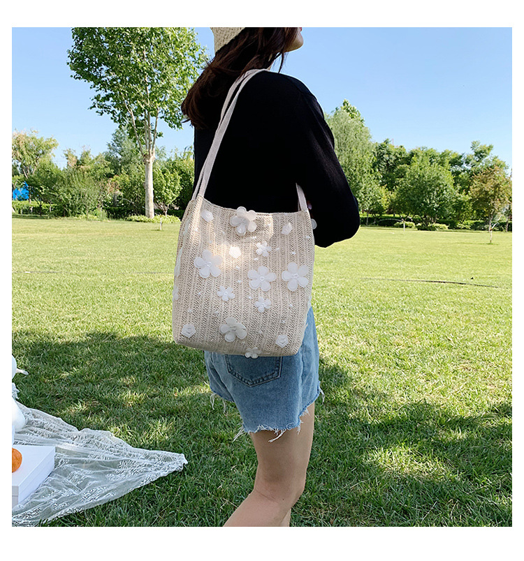 korean fashion simple new woven style   portable tote bag female  large capacity flower shoulder bucket bag wholesale NHPB227386