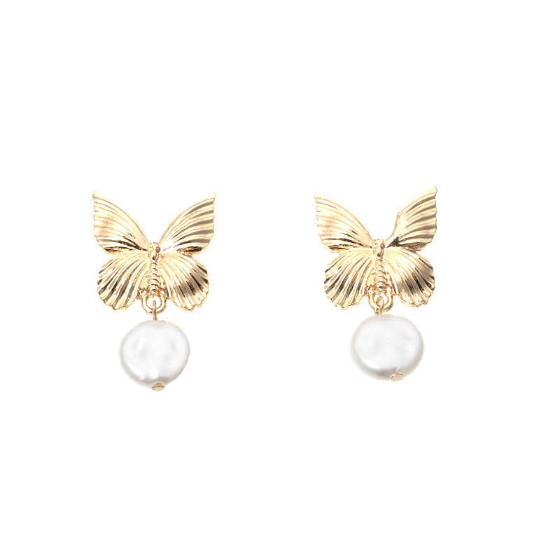 new jewelry popular metal butterfly earrings creative fashion pearl earrings wholesale nihaojewelry NHNZ234145