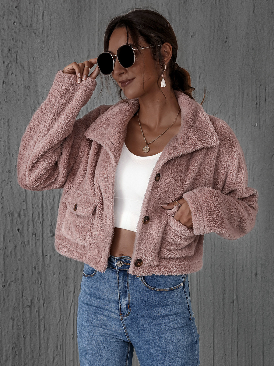 autumn and winter thickened women's jacket faux fur plush warm jacket hot sale NSAL1952