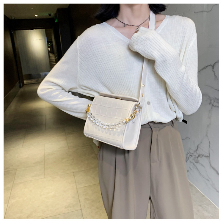 new trendy fashion allmatch oneshoulder messenger texture portable small square bag for women NHTC247767