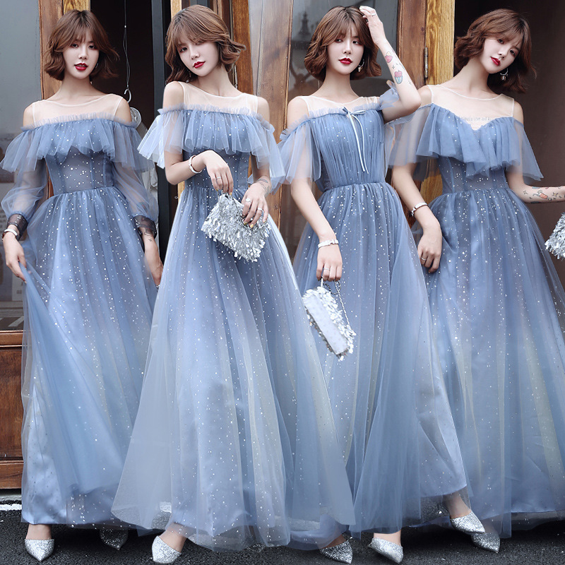 Evening dresses prom dress Vestiti da sera evening gowns Bridesmaid Dress FAIRY BLUE Bridesmaid group dress sisters dress evening dress long season