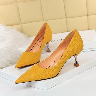 1923-6 han edition fashion simple metal with high heel with shallow mouth pointed shoes joker delicate show thin single