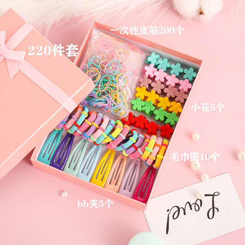 Korean childrens simple hair clip head rope box set baby floret clip hair rope rubber band wholesale NHNA241043