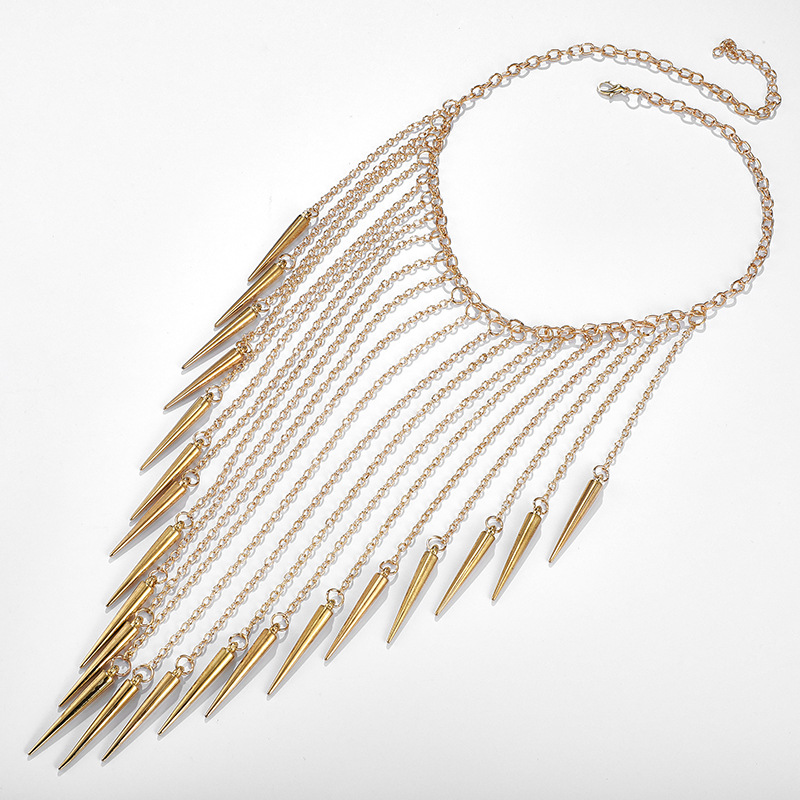Exaggerated fashion new accessories punk wind chain tassel rivet fashion necklace neck chain NHGY205965